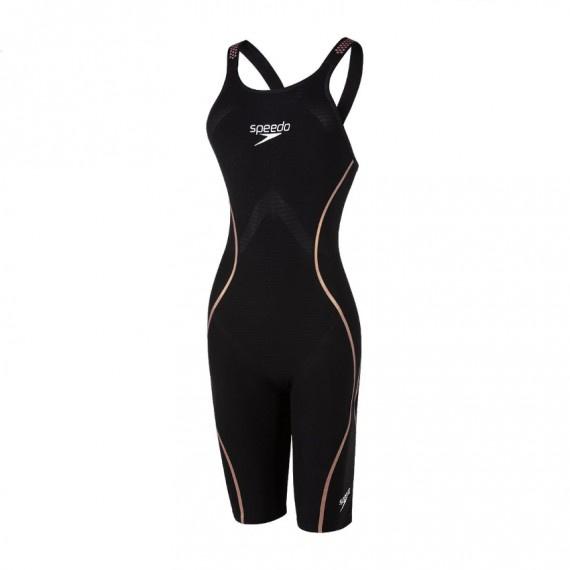鯊魚皮 LZR英騰系列 女子開放式後背連體及膝泳衣 - 黑