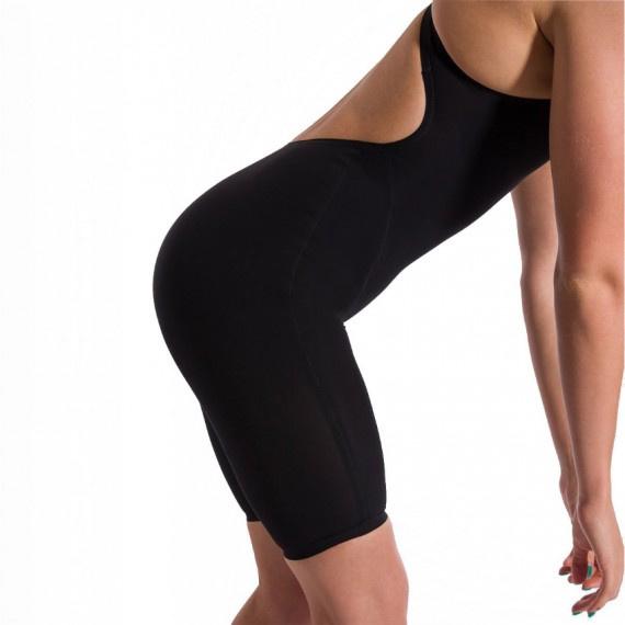 鯊魚皮 LZR飛躍系列 女子開放式後背連體及膝泳衣 - 黑