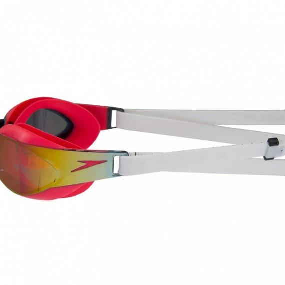 成人鯊魚皮專業競賽鍍膜泳鏡 - 白/紅