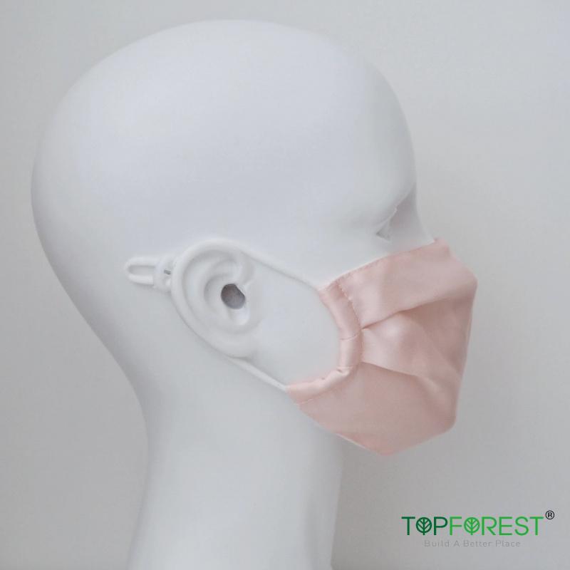 簡約時尚舒爽透氣光滑絲面布薄口罩 - 嫩膚粉紅色(2個)真絲裡布提昇膚質 M14020