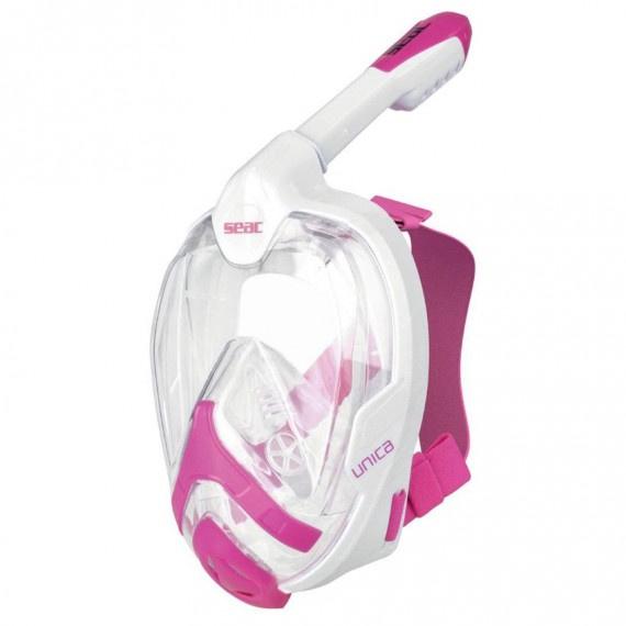 Unica MD 細面形或青少年全面罩式浮潛面鏡連呼吸管 - 白/粉紅