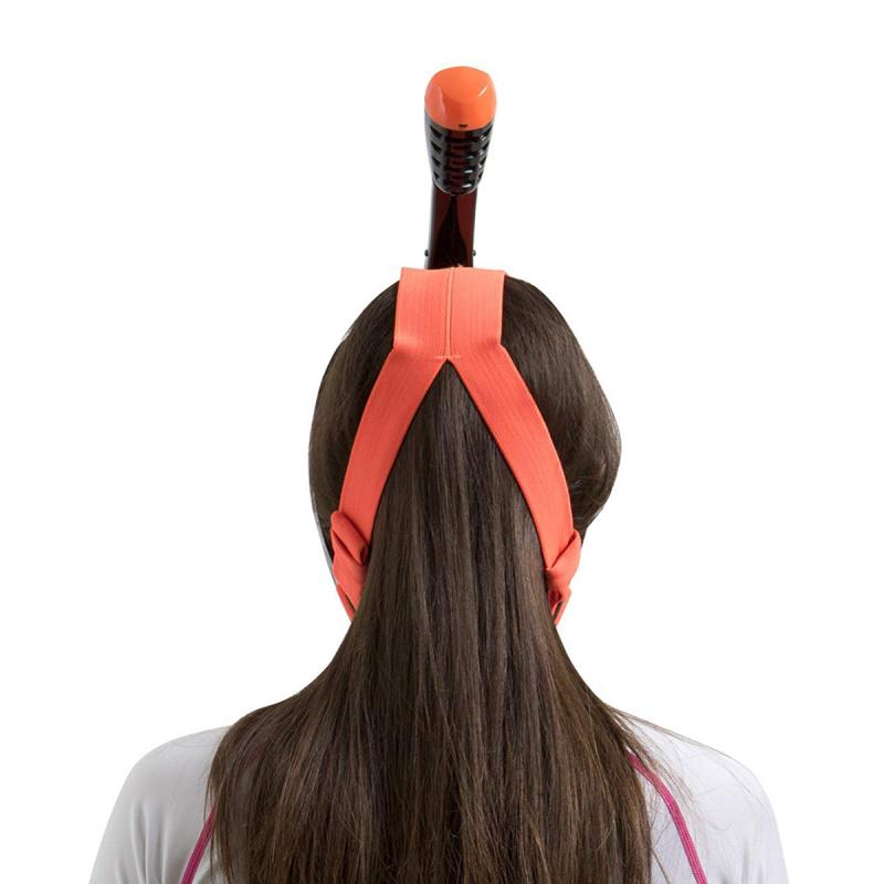 Unica MD 細面形或青少年全面罩式浮潛面鏡連呼吸管 - 全黑/橙