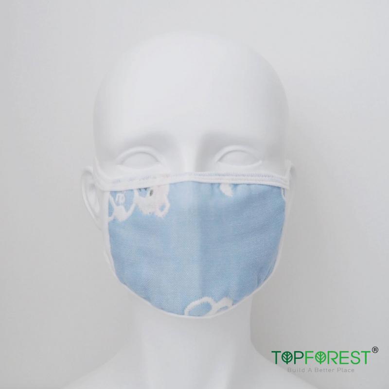 六層紗布中童粉藍色口罩3個日常替換裝 顏色圖案隨機 *沒有內置功能 *沒有鼻樑調節 M13020
