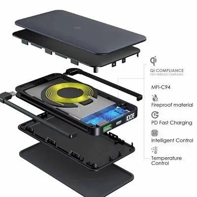 EGO ALLY DELIVERY MFI 內置PD快充線+無線充 10000MAH外置電 Black/White