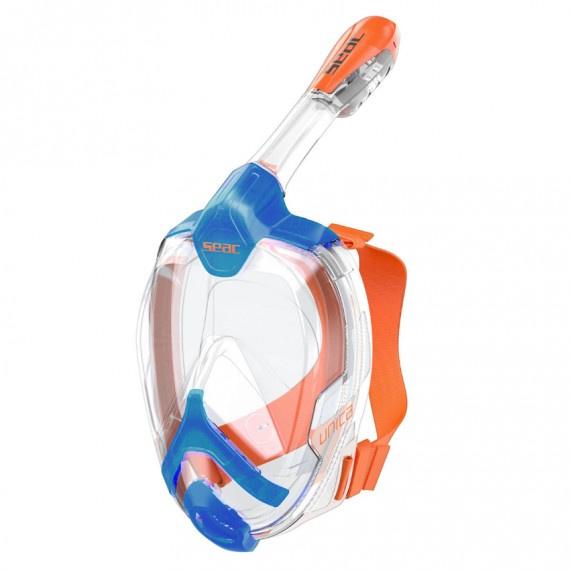 Unica 成人全面罩式浮潛面鏡 - 藍/橙