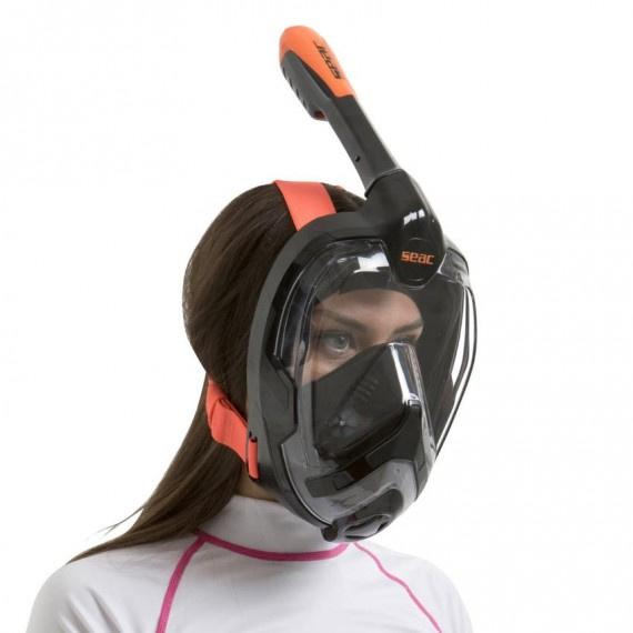 Unica 成人全面罩式浮潛面鏡 - 黑/橙