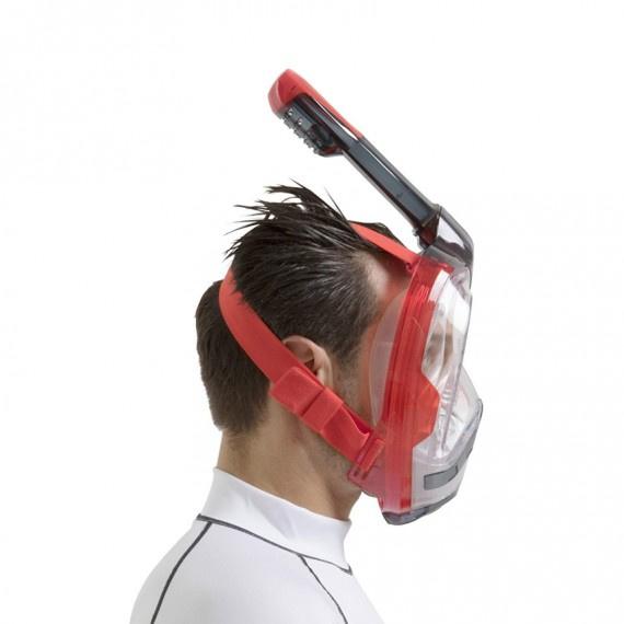 Unica 成人全面罩式浮潛面鏡 - 紅/黑