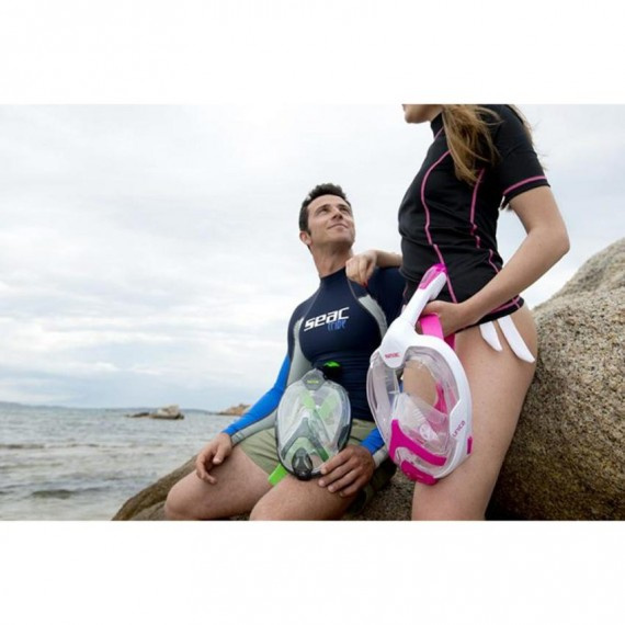 Unica MD 細面形或青少年全面罩式浮潛面鏡連呼吸管 - 黑/青檸