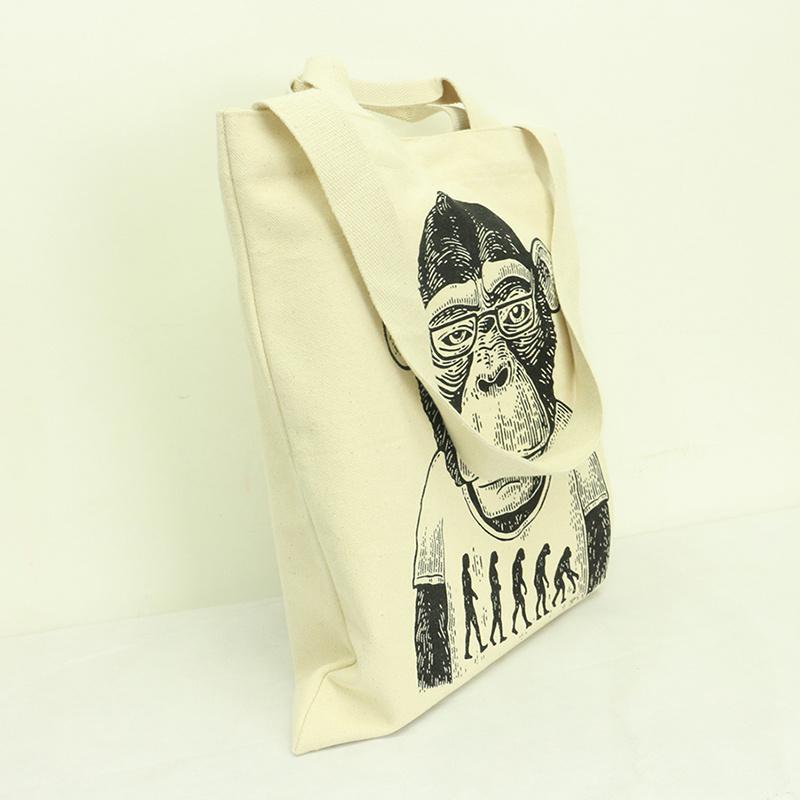 原色手挽側孭兩用帆布袋 新潮猿人 B01037
