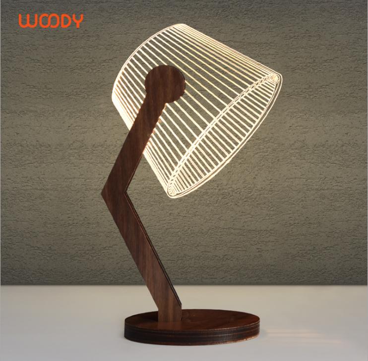 Woody 手工胡桃木3D夜燈