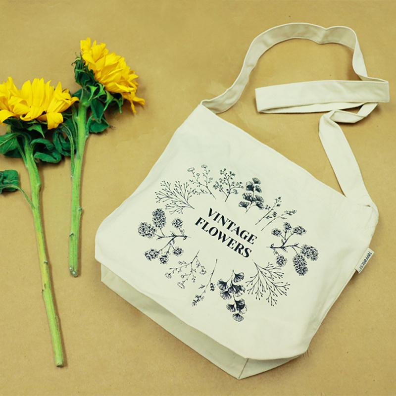 棉帆布袋 多用途斜揹袋/斜孭袋 復古花朵 B02057