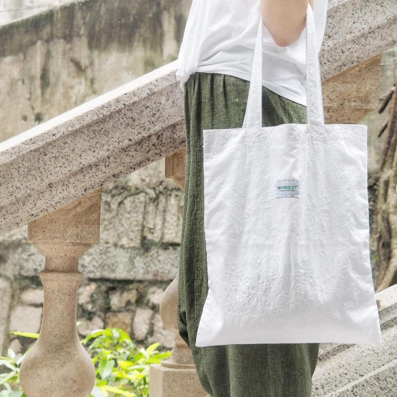 法式手工蕾絲純棉布袋 B06017
