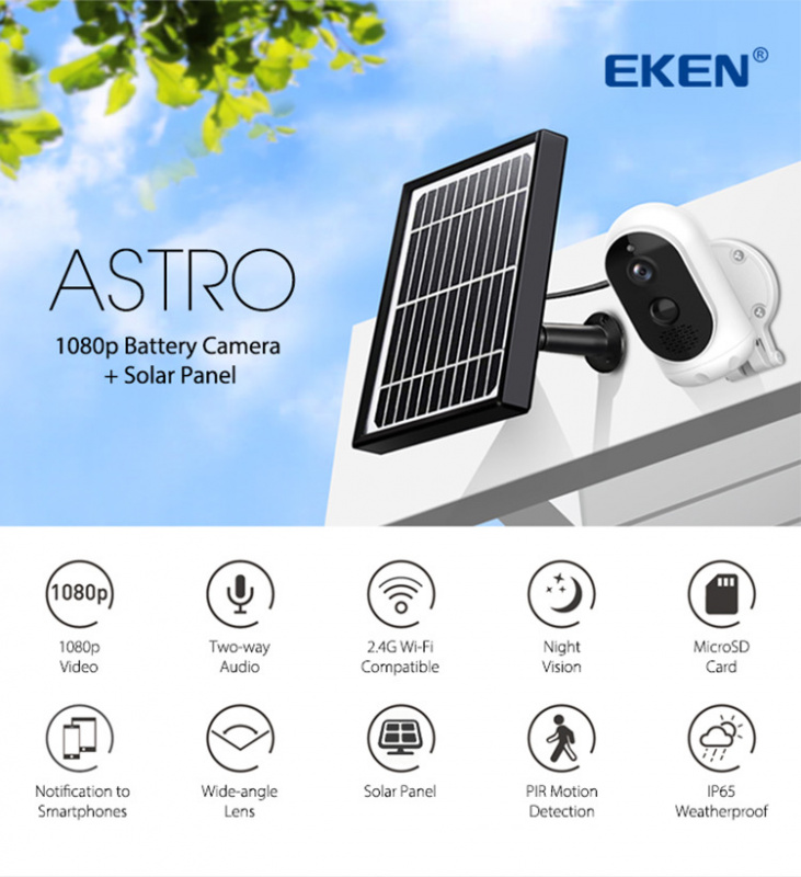 EKEN Astro智能無線IP和太陽能電池攝像機
