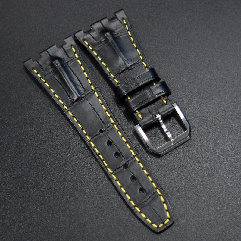 28mm 黑色鱷魚背錶帶 黃色車線 適合 Audemars Piguet Royal Oak Offshore 42mm