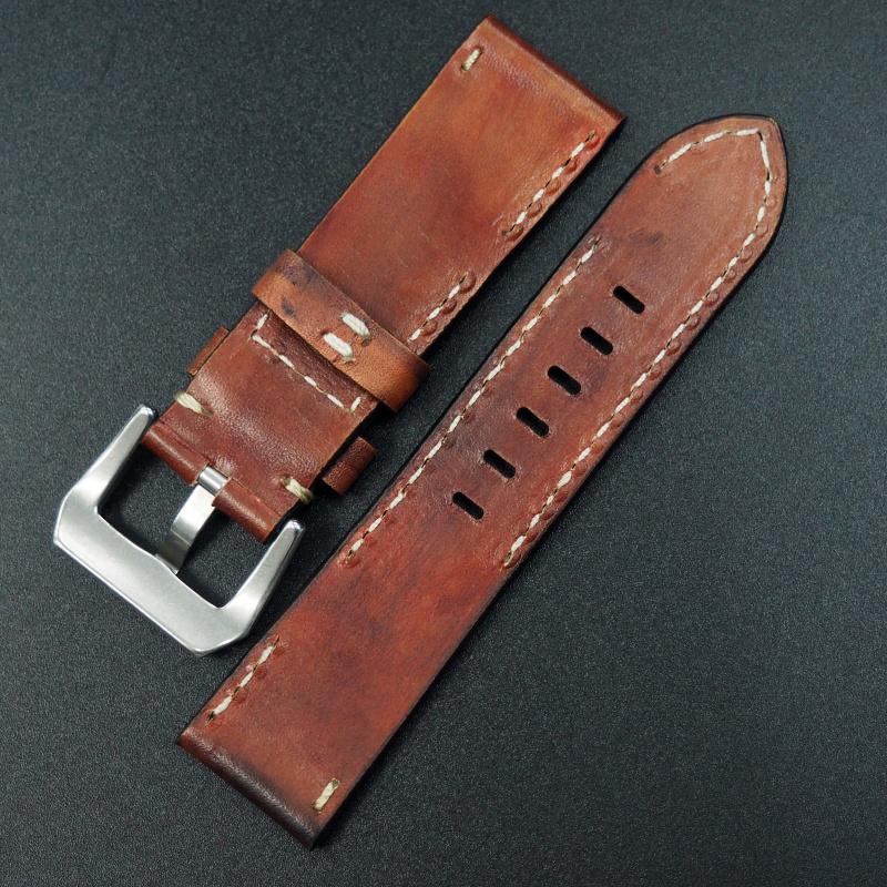 24mm 手工皮革 黑紅彩染 牛皮錶帶 合適 Panerai