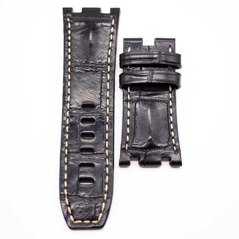 28mm 黑色鱷魚背錶帶 米白色車線 適合 Audemars Piguet Royal Oak Offshore 42mm