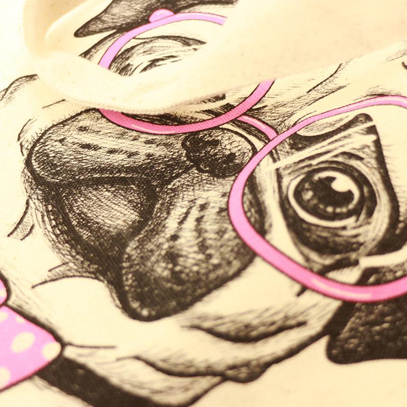 大容量萬用帆布手挽袋 粉紅煲呔小狗 B03017