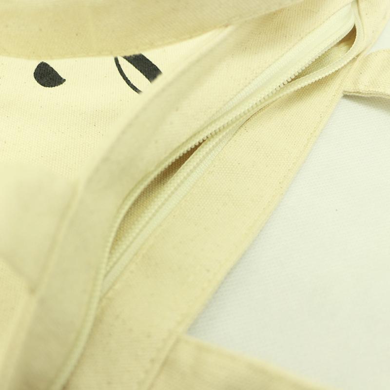 歐美簡約拉鏈手提帆厚布袋 B04017