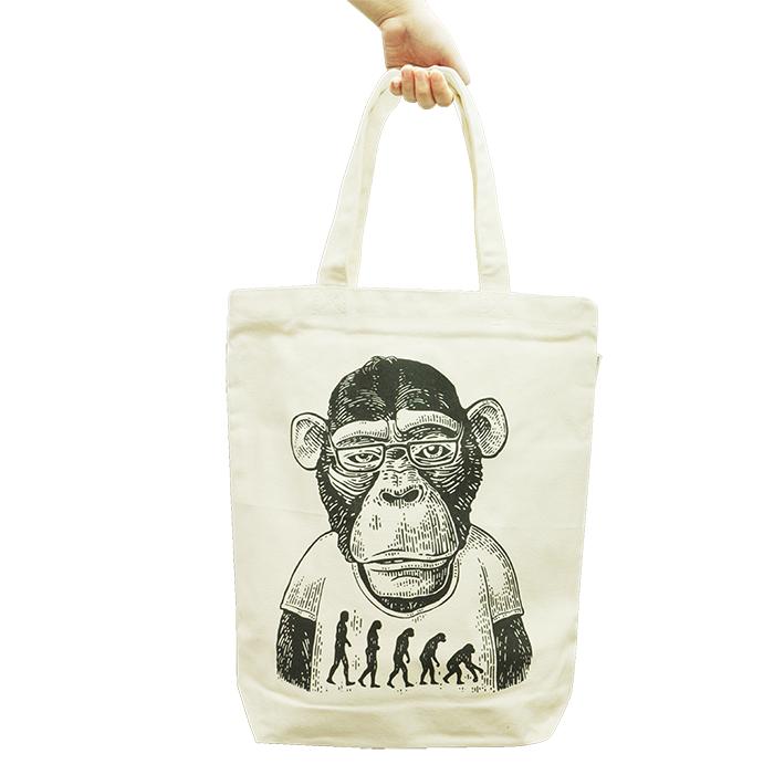進化猿人拉鏈手提厚帆布袋 B04027