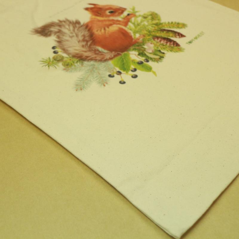 森林系原色得意可愛小松鼠帆布袋 B07029