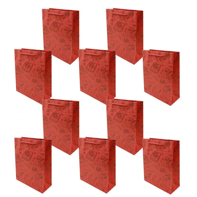 中秋節/ 月餅袋 / 冰皮月餅包裝 紅色特厚禮物紙袋 10個廠價特惠裝 多用途包裝用品 SPB004