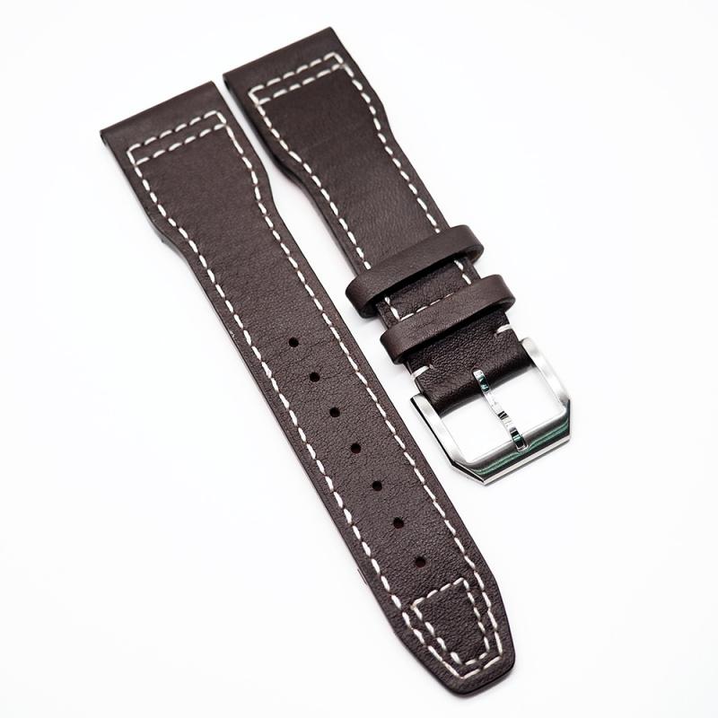 22mm IWC 棕色牛皮白色車線錶帶