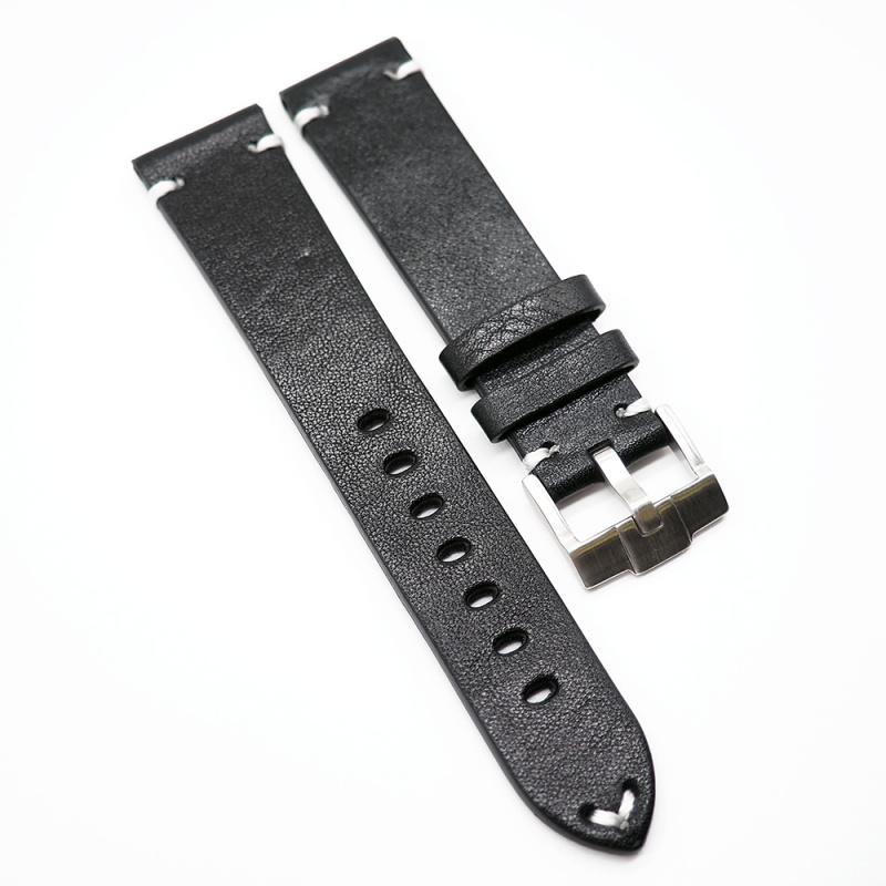 20mm 復古黑色意大利小牛皮錶帶 適合Rolex, Omega, IWC, Tudor 等等