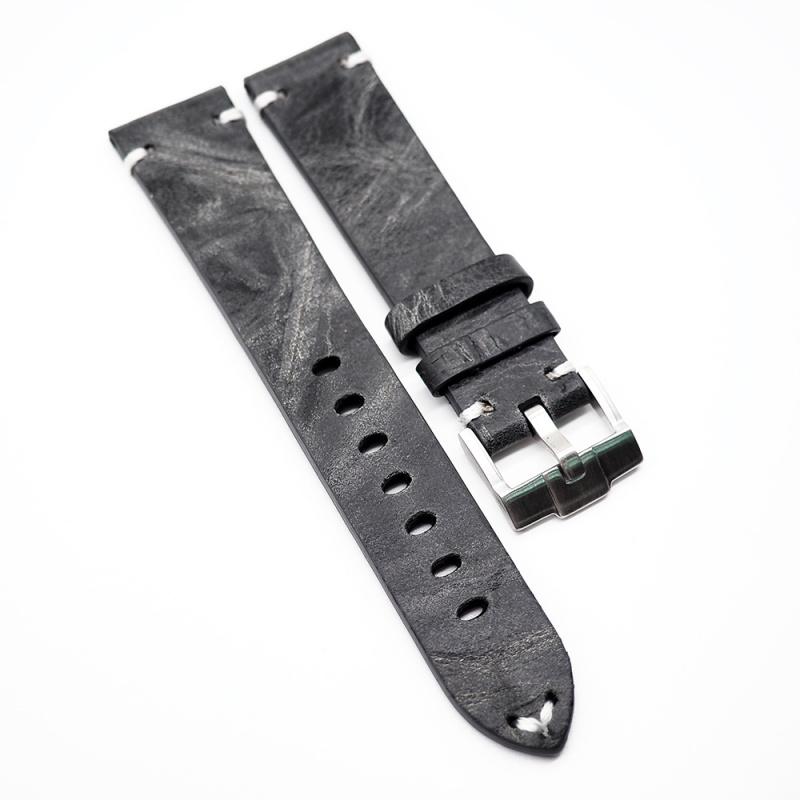 20mm 復古深灰色雲石紋意大利小牛皮錶帶 適合Rolex, Omega, IWC, Tudor 等等