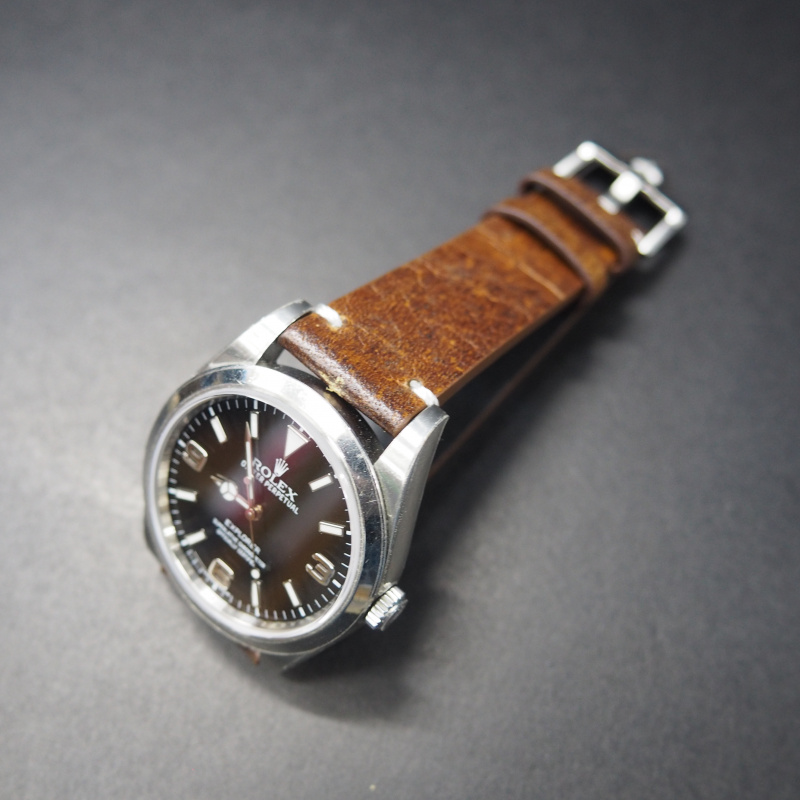 20mm 復古橙啡色意大利小牛皮錶帶 適合Rolex, Omega, IWC, Tudor etc