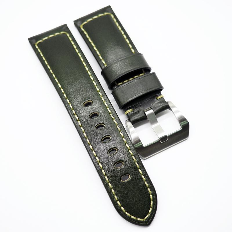 24mm 橄欖綠色牛皮錶帶 合適 Panerai 等等