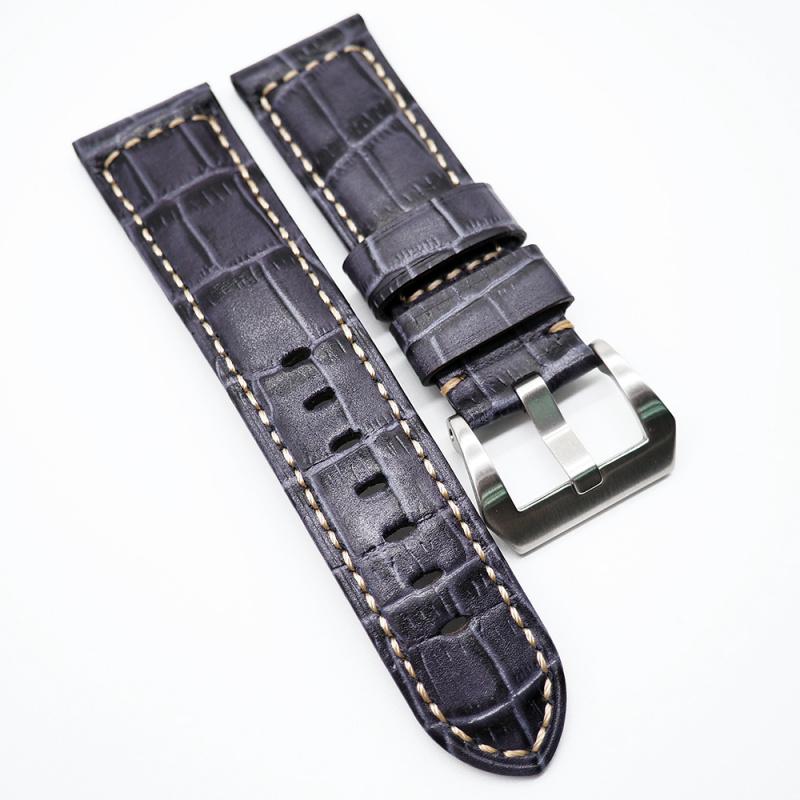 24mm 紫色鱷魚紋牛皮錶帶 合適 Panerai 等等