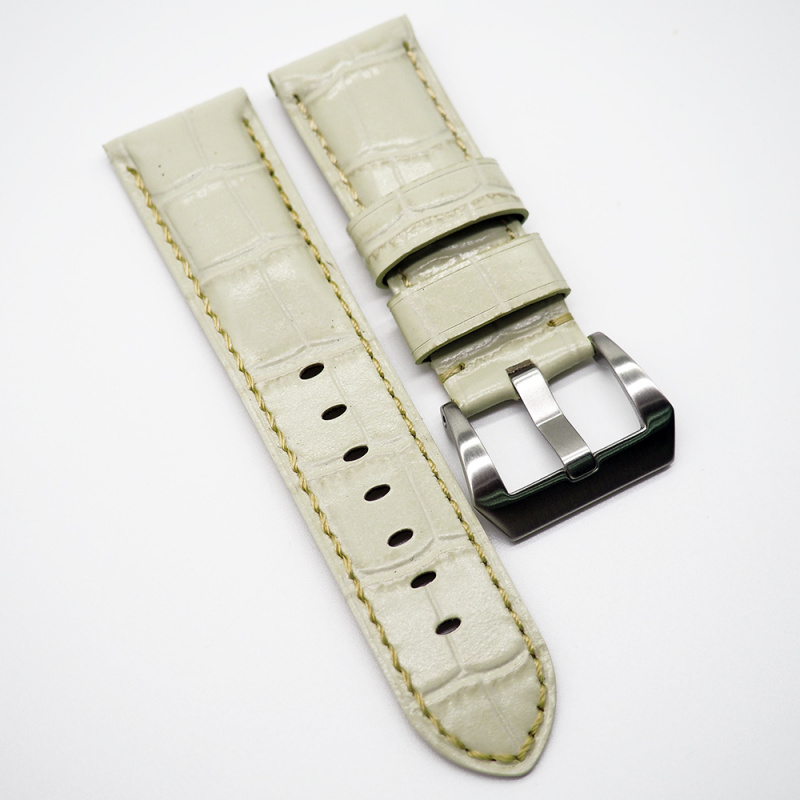 24mm 奶白色鱷魚紋牛皮錶帶 合適 Panerai 等等