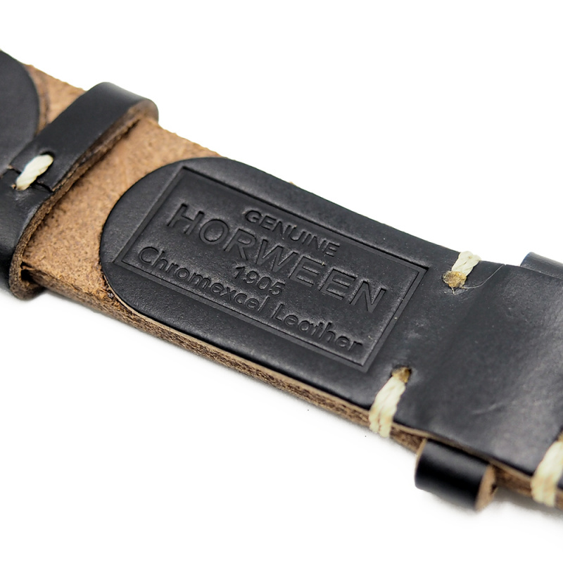 18mm, 20mm, 22mm 優質黑色 Horween 牛皮復古錶帶