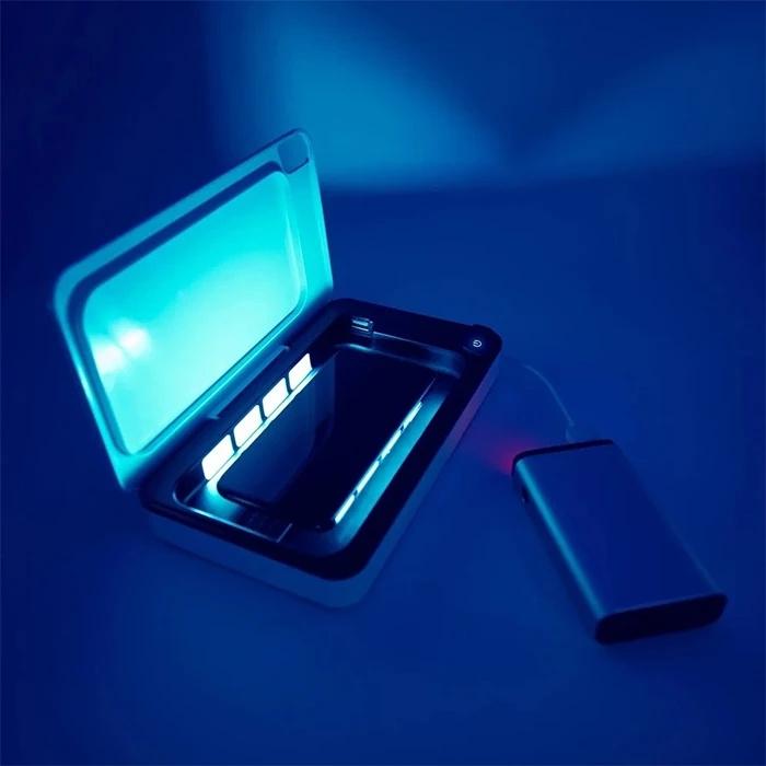 瑞士TRAVELMALL 帶QI無線充電器 多功能紫外線消毒器盒