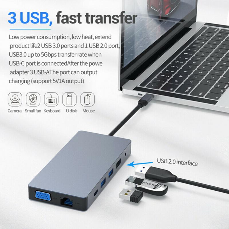 M-Plus 12 in 1 Type C Laptop Docking Station USB 3.0 HDMI VGA PD USB Hub for MacBook