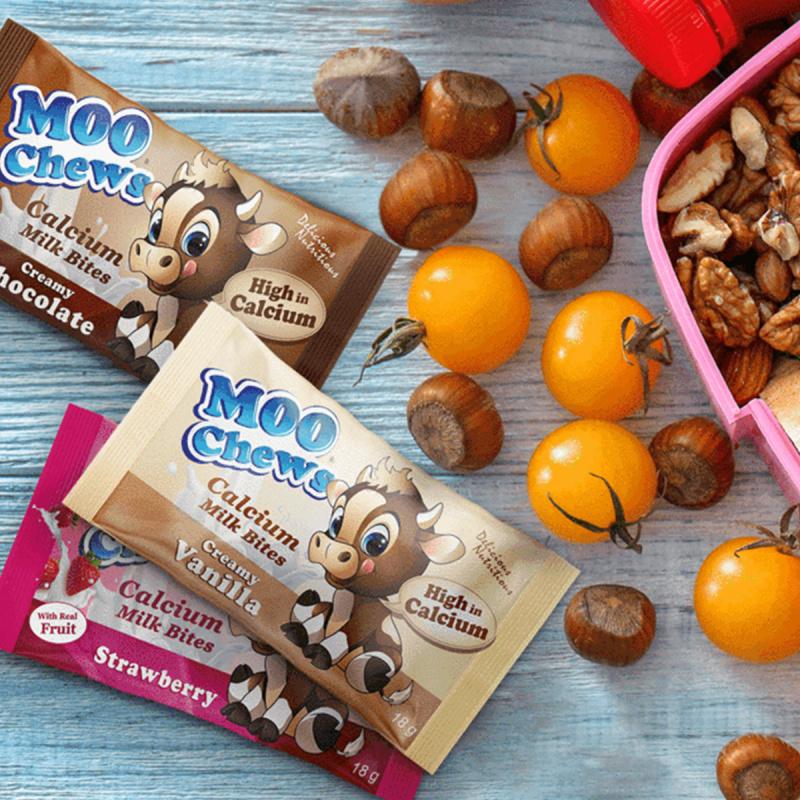 紐西蘭Moo Chews 無麩質 真水果士多啤梨 牛奶鈣片 18g (2件裝)【市集世界 - 澳紐市集】
