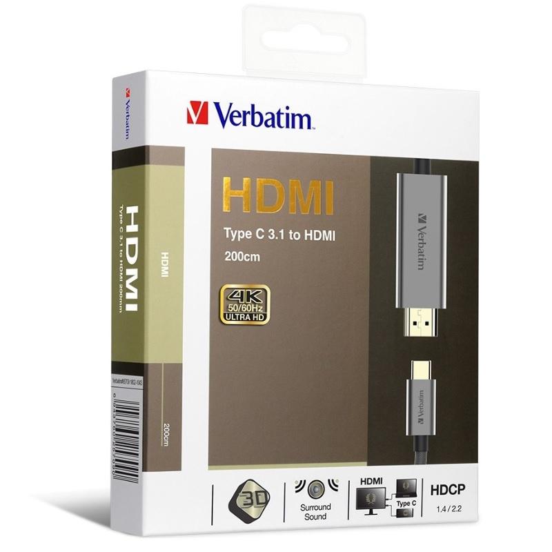 Verbatim Type C 3.1 to HDMI 4K Cable 2M - 65709 【行貨保養】