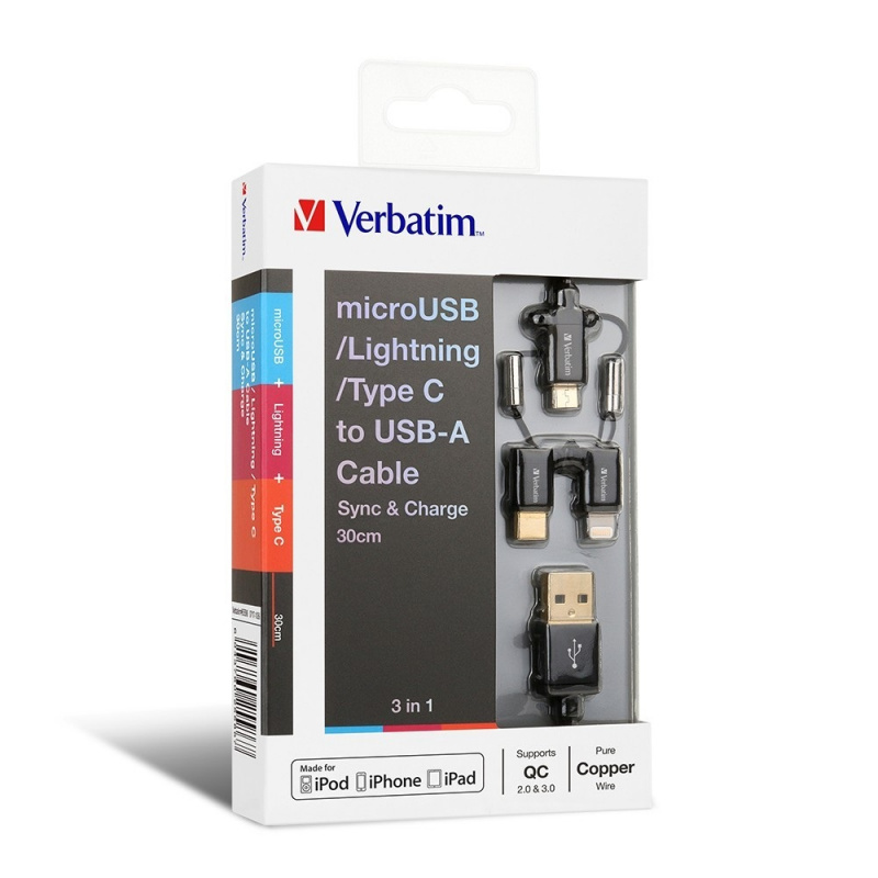 Verbatim 3-in-1 microUSB/Lightning/Type C to USB-A Cable 30CM 【行貨保養】