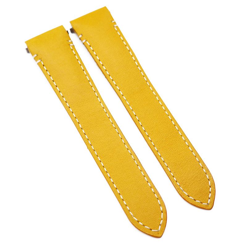 18mm 淺黃色優質牛皮 Cartier 代用快拆錶帶 合適 Cartier Santos Medium Model