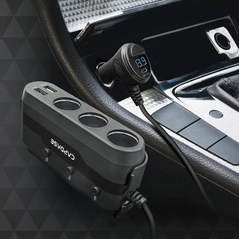 Capdase - [100W高配] POWERHUB BQP4 一開三點煙器 加 四插頭 QC3.0 USB type c pd 車充 快充⚡️⚡️