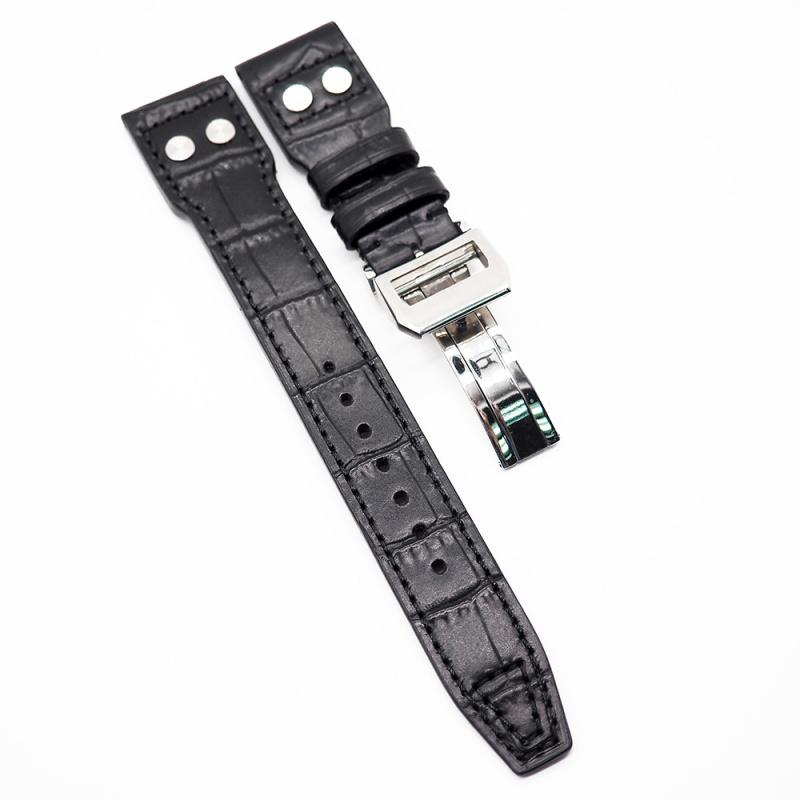 22mm 黑色 IWC 鱷魚紋牛皮代用錶帶 合適 Big Pilot