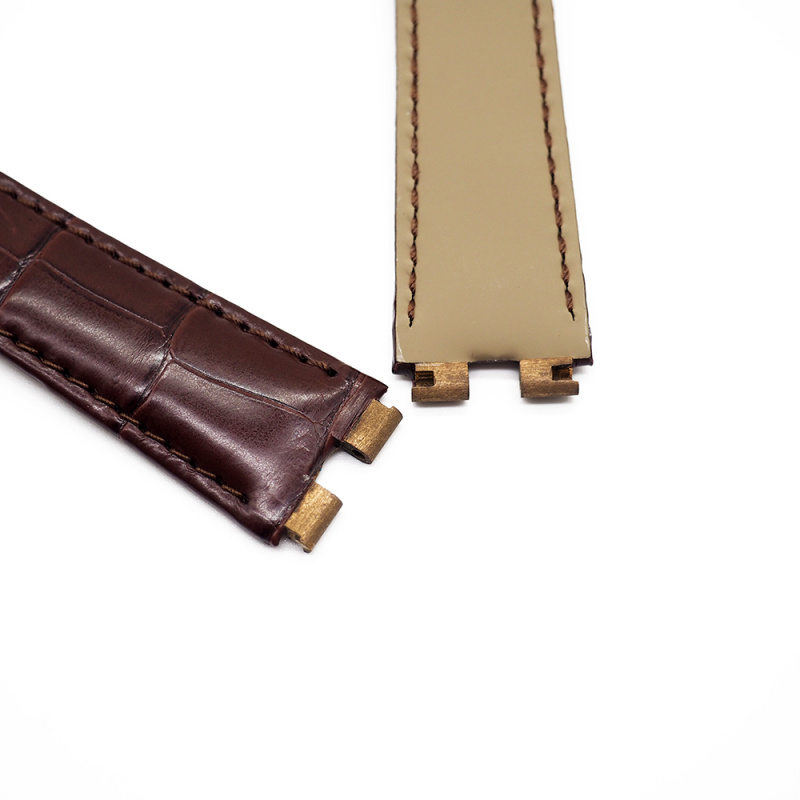 20mm 棕紅色 Piaget 鱷魚皮代用錶帶 合適 Piaget Polo 43mm