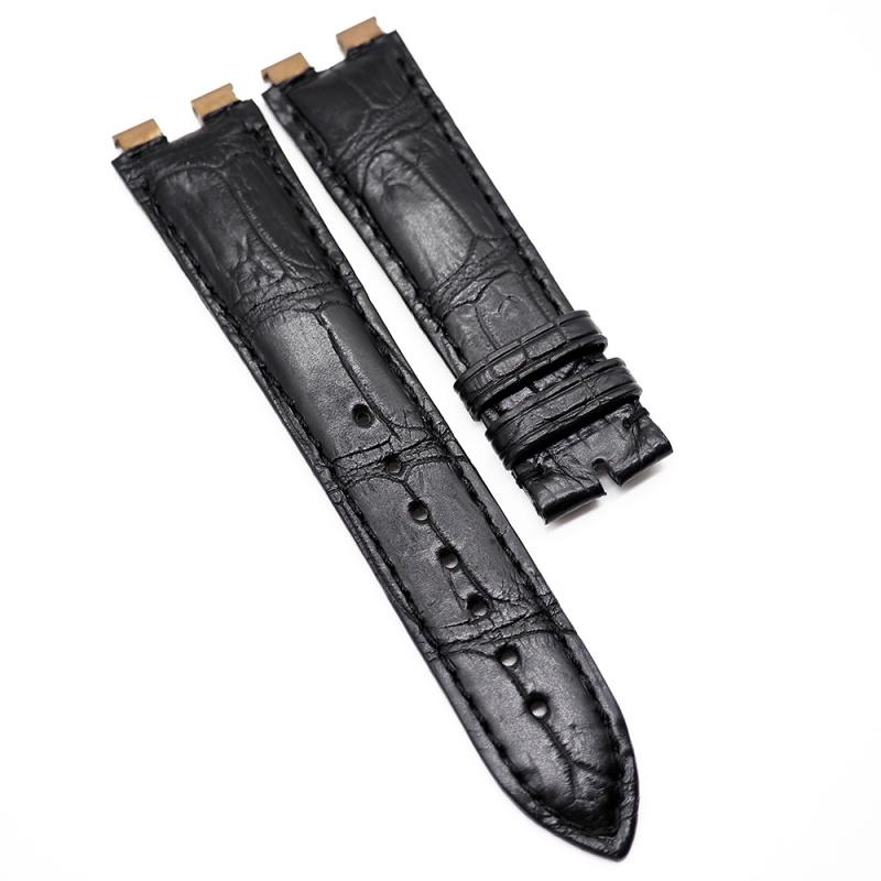 20mm 黑色 Piaget 鱷魚皮代用錶帶 合適 Piaget Polo 43mm