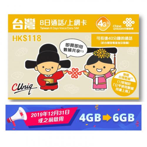 中國聯通 台灣4G LTE 無限任用數據卡上網卡及通話sim卡 8日 3in1 Sim card