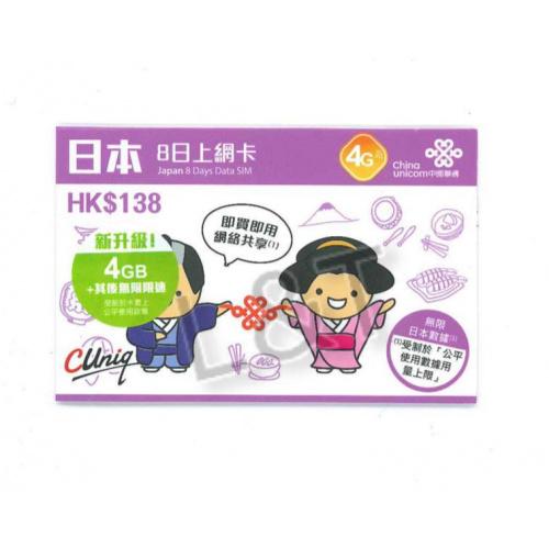 中國聯通 4G日本8日無限數據卡上網卡sim卡 3in1 sim card
