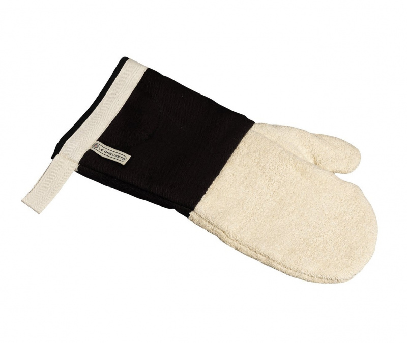 Le Creuset 紡織微波爐隔熱手套 - 14寸 (黑色/米色)