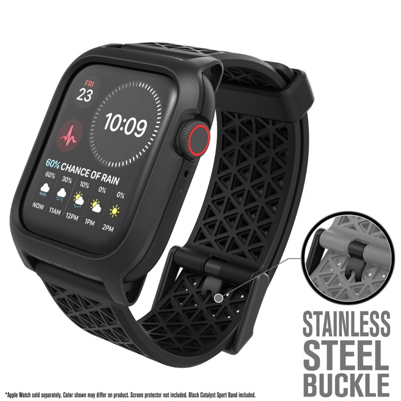 Catalyst Impact Protection Case For Apple Watch Series Se, 6, 5 & 4 - 44mm - Buckle Edition (Stealth Black/Flame Red/Midnight Blue)