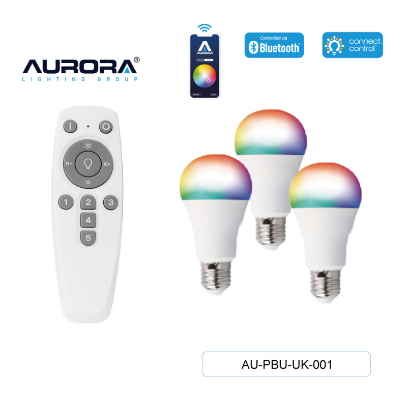 Aurora 8W A60 E27 智能彩色燈膽套裝 [AU-PBU-UK-001]