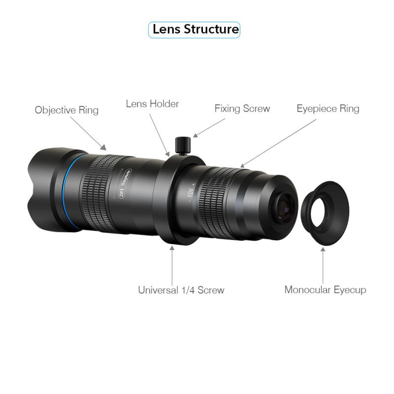 APEXEL APL-JS28X 高清 28倍 金屬手機單筒遠攝鏡頭/望遠鏡