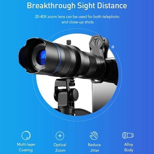 APEXEL JS20-40XJJ04 高清20-40X 金屬單筒變焦望遠鏡外部雙調節單筒手機長焦鏡頭